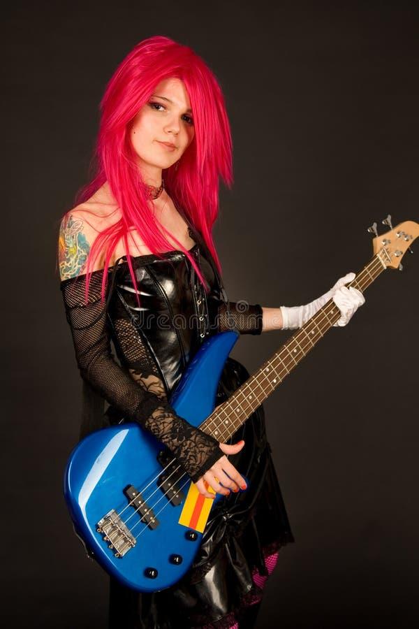 Portret van mooi meisje met gitaar royalty-vrije stock fotografie