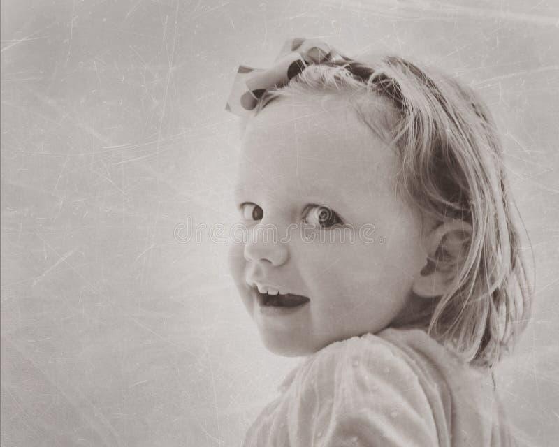 Portret van mooi meisje in uitstekende stijl Het beeld is royalty-vrije stock fotografie