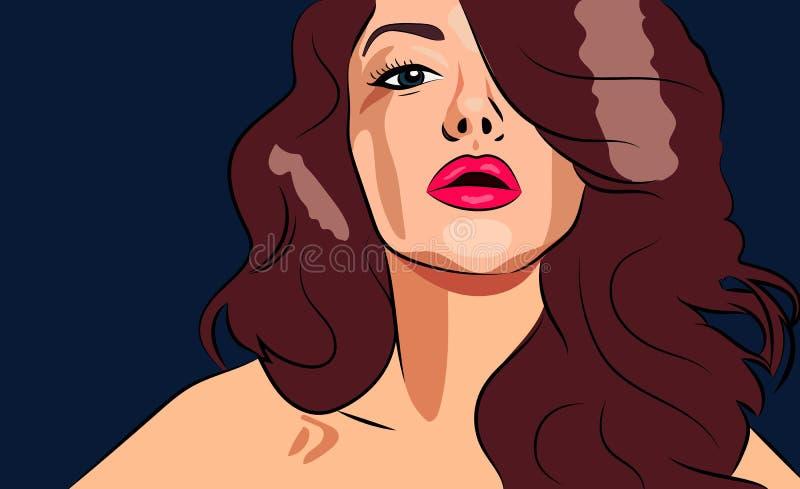 Portret van mooi meisje voor schoonheidssalon of hoofdadvertenties of banner royalty-vrije illustratie