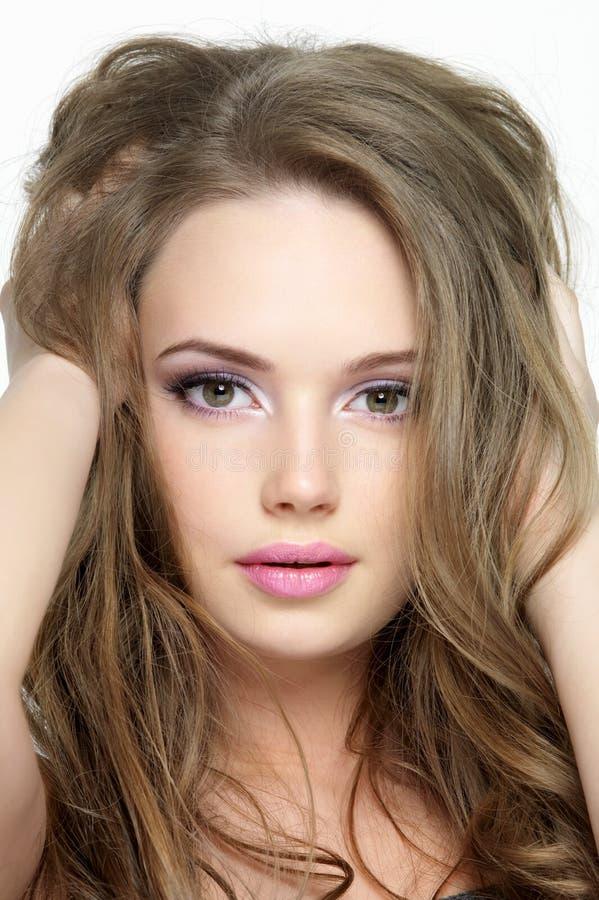 Portret van mooi mooi gezicht van jong meisje stock fotografie