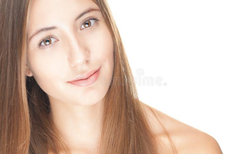Portret van mooi sexy die meisje op wit wordt geïsoleerde. stock afbeeldingen