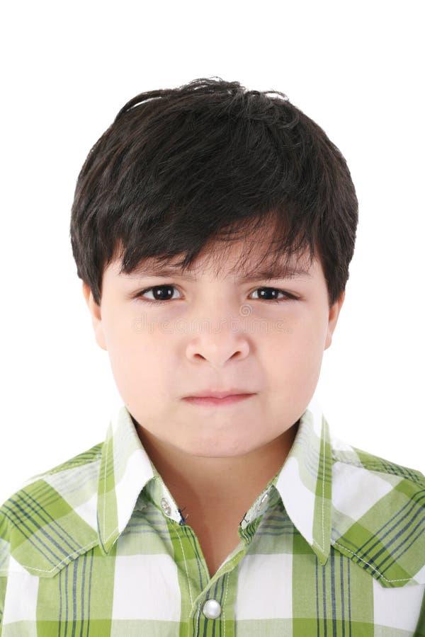 Portret van mooi weinig jongen met ernstige blik royalty-vrije stock fotografie