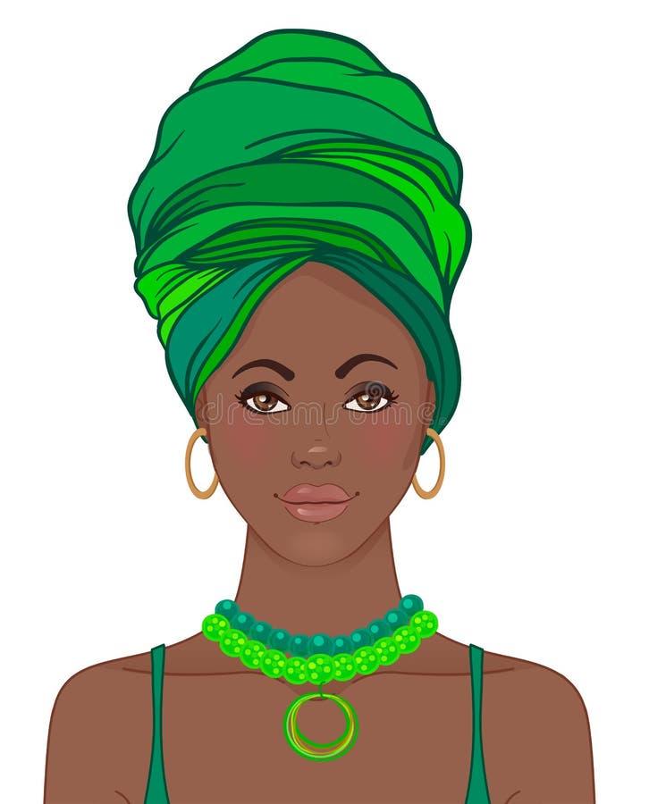 Portret van mooie Afrikaanse vrouw in tulband Stammenstijl fash stock illustratie
