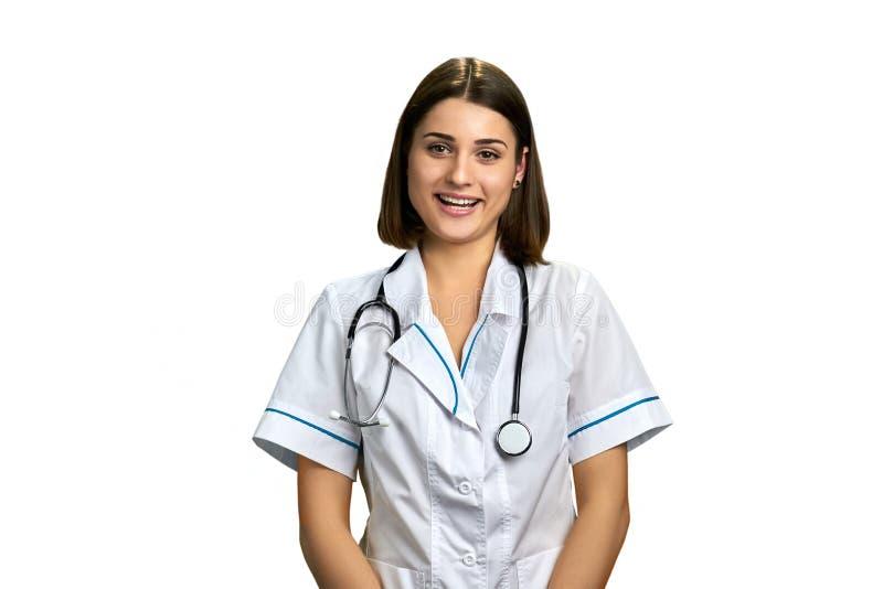 Portret van mooie arts met stethoscoop stock fotografie