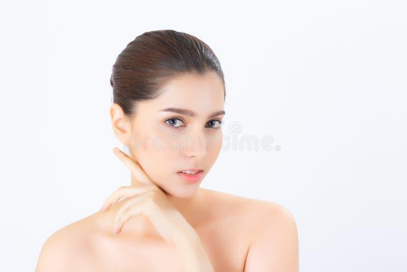 Portret van mooie Aziatische vrouwenmake-up van schoonheidsmiddel, aantrekkelijk de aanrakingswang van de meisjeshand en glimlach stock foto's