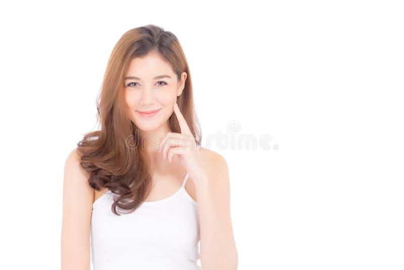 Portret van mooie Aziatische vrouwenmake-up van schoonheidsmiddel - de aanrakingswang en glimlach van de meisjeshand op aantrekke stock afbeeldingen