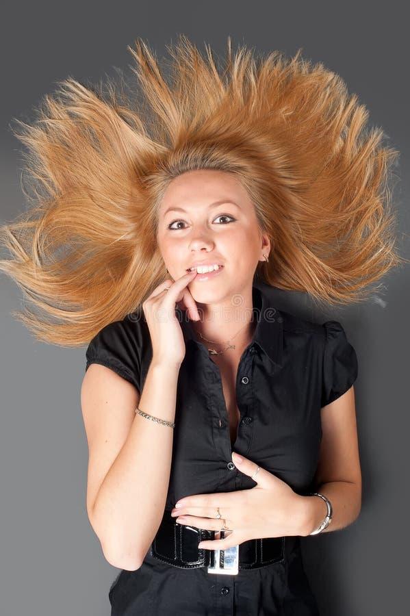 Portret van mooie blondevrouw royalty-vrije stock afbeeldingen