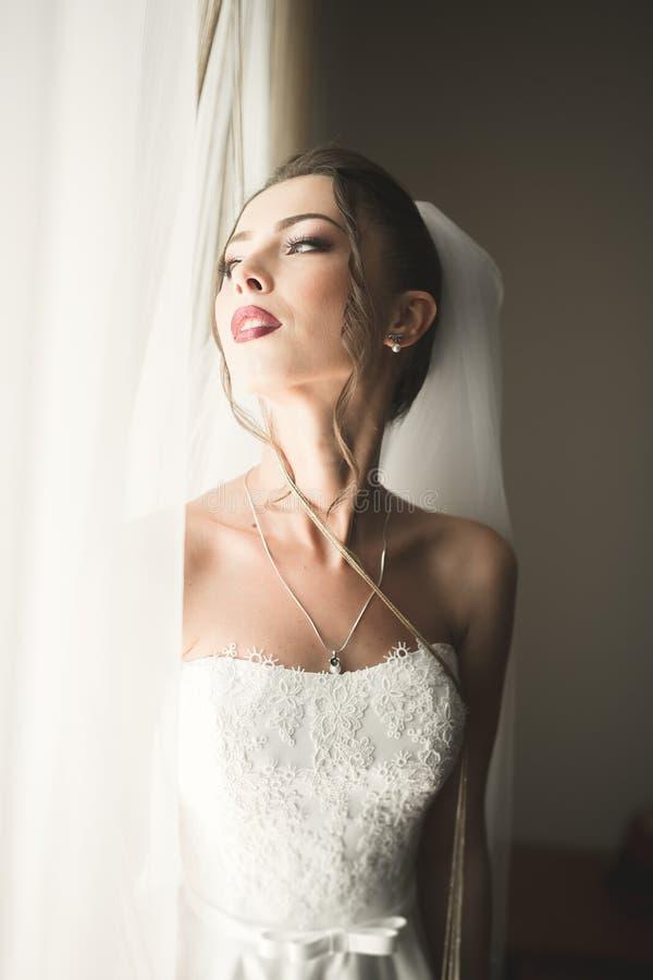 Portret van mooie bruid met maniersluier bij huwelijksochtend royalty-vrije stock afbeelding