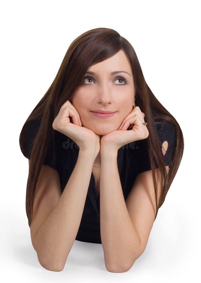Portret van mooie brunette royalty-vrije stock foto's