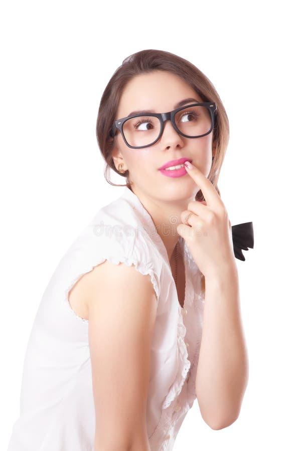 Portret van mooie donkerbruine vrouw in glazen stock fotografie