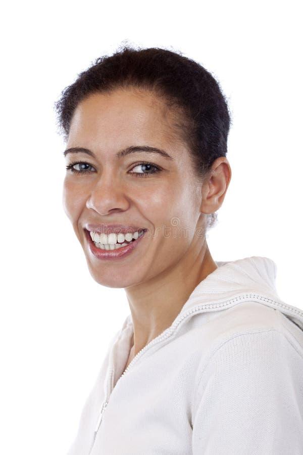 Portret van mooie gelukkige glimlachende vrouw stock foto's