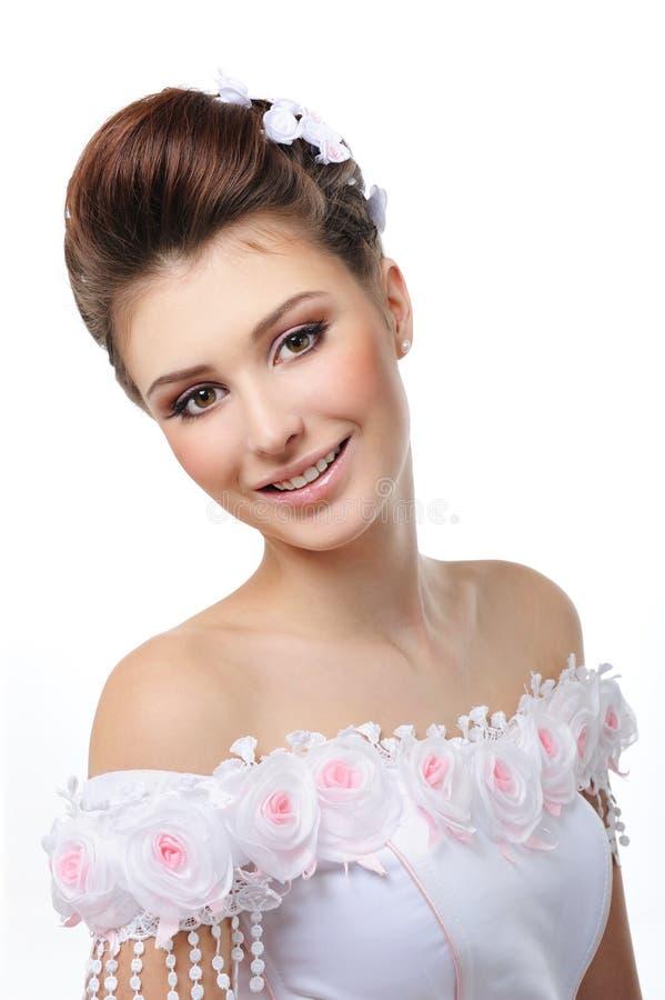 Portret van mooie glimlachende bruid royalty-vrije stock fotografie
