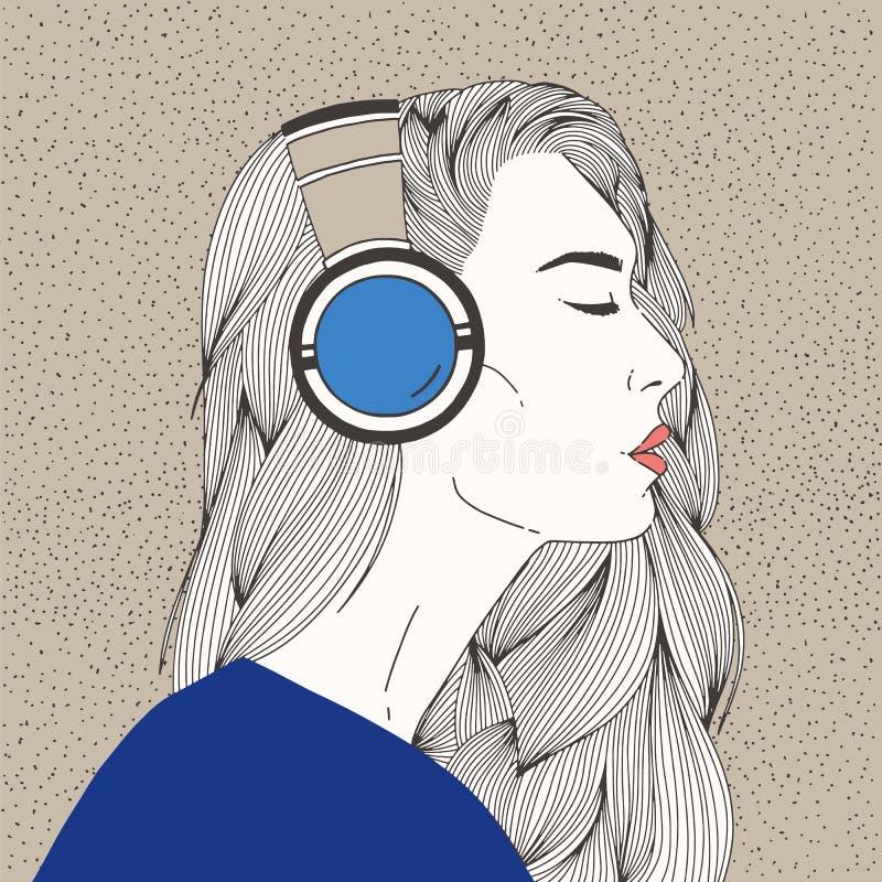 Portret van mooie langharige jonge vrouw met gesloten ogen die hoofdtelefoons dragen Schitterend Meisje die aan Muziek luisteren vector illustratie
