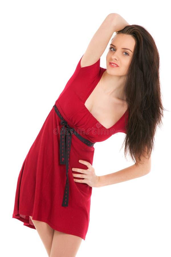 Portret van mooie sexy vrouw die rode kleding dragen royalty-vrije stock afbeelding