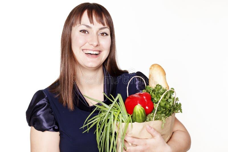 Download Portret Van Mooie Vrouw Met Een Zak Van Producten Stock Afbeelding - Afbeelding bestaande uit kaukasisch, plantaardig: 54079417