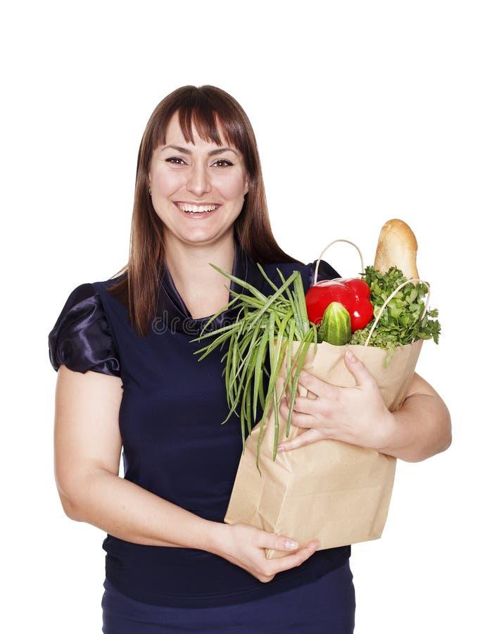 Download Portret Van Mooie Vrouw Met Een Zak Van Producten Stock Afbeelding - Afbeelding bestaande uit groenten, achtergrond: 54079647