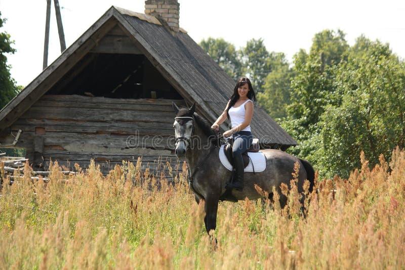 Portret van mooie vrouw op paard dichtbij de schuur stock foto's