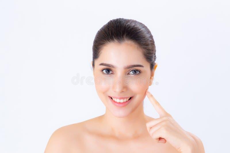 Portret van mooie vrouwen Aziatische make-up van schoonheidsmiddel, aantrekkelijk de aanrakingswang van de meisjeshand en glimlac stock afbeeldingen