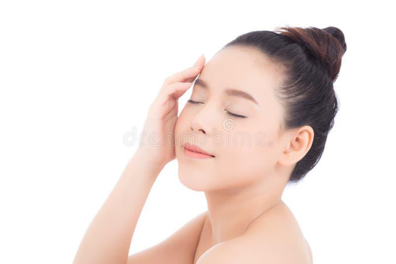 Portret van mooie vrouwen Aziatische make-up van schoonheidsmiddel, aantrekkelijk de aanrakingswang van de meisjeshand en glimlac royalty-vrije stock afbeeldingen