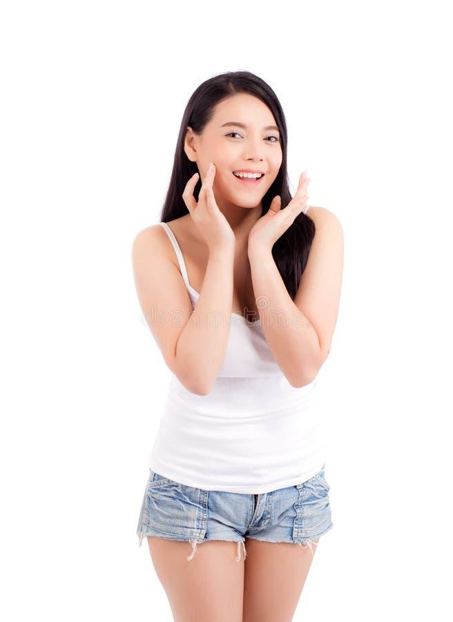 Portret van mooie vrouwen Aziatische make-up van schoonheidsmiddel, aantrekkelijk de aanrakingswang van de meisjeshand en glimlac royalty-vrije stock fotografie