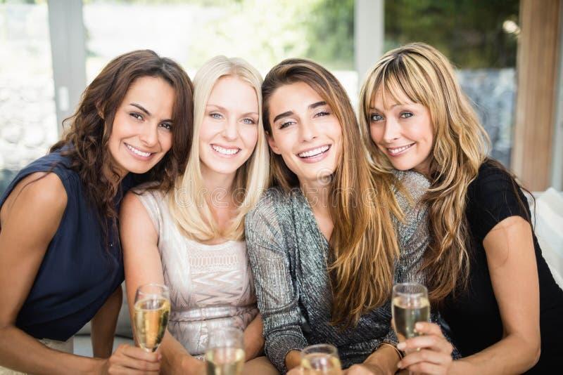Portret van mooie vrouwen die dranken hebben stock foto's