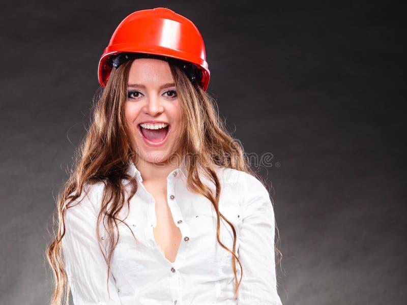 Portret van mooie vrouwen structurele ingenieur stock fotografie
