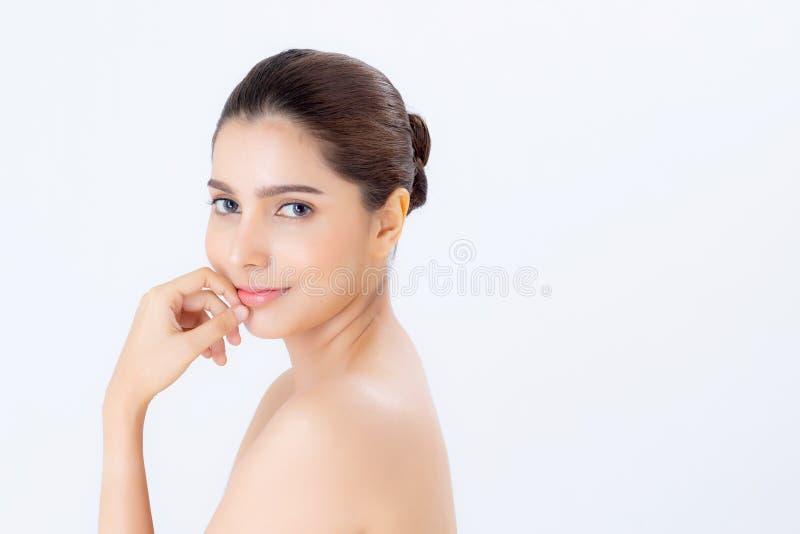 Portret van mooie vrouwenmake-up van schoonheidsmiddel, aantrekkelijk de aanrakingsmaand van de meisjeshand en glimlach royalty-vrije stock foto