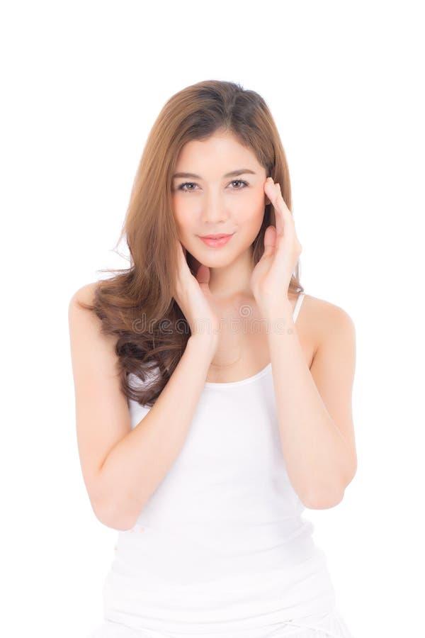 Portret van mooie vrouwenmake-up van schoonheidsmiddel, aantrekkelijk de aanrakingswang van de meisjeshand en glimlach stock fotografie