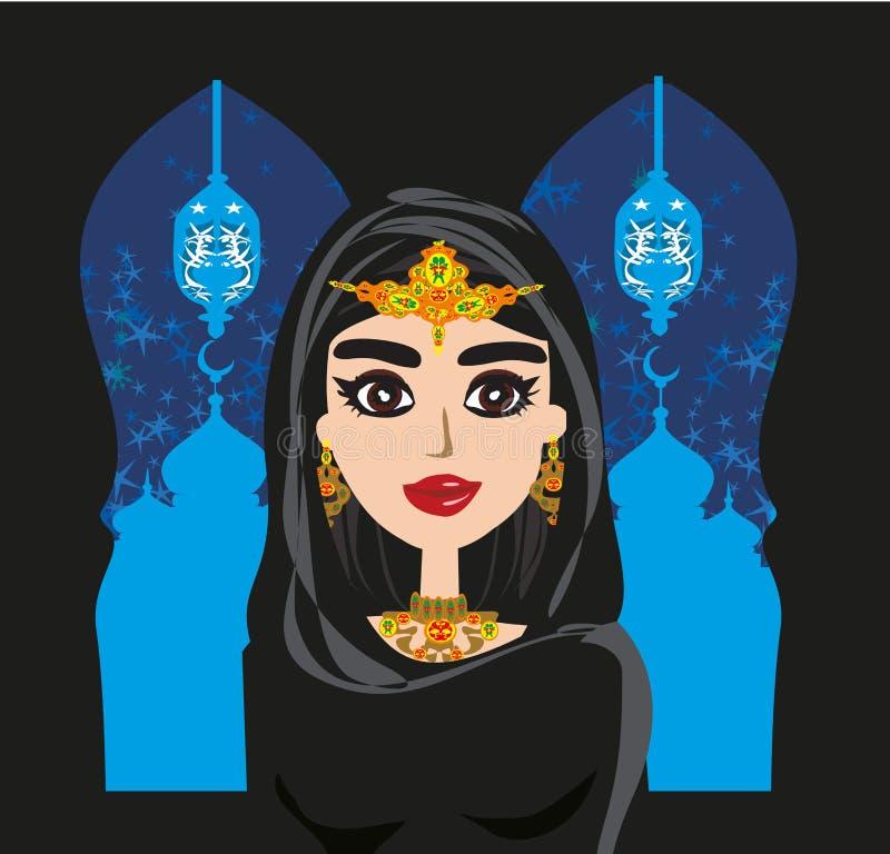 Portret van moslim mooi meisje in hijab royalty-vrije illustratie