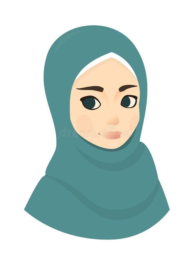 Portret van moslim mooie meisjesvrouw in hijab, vectorillustratie royalty-vrije illustratie