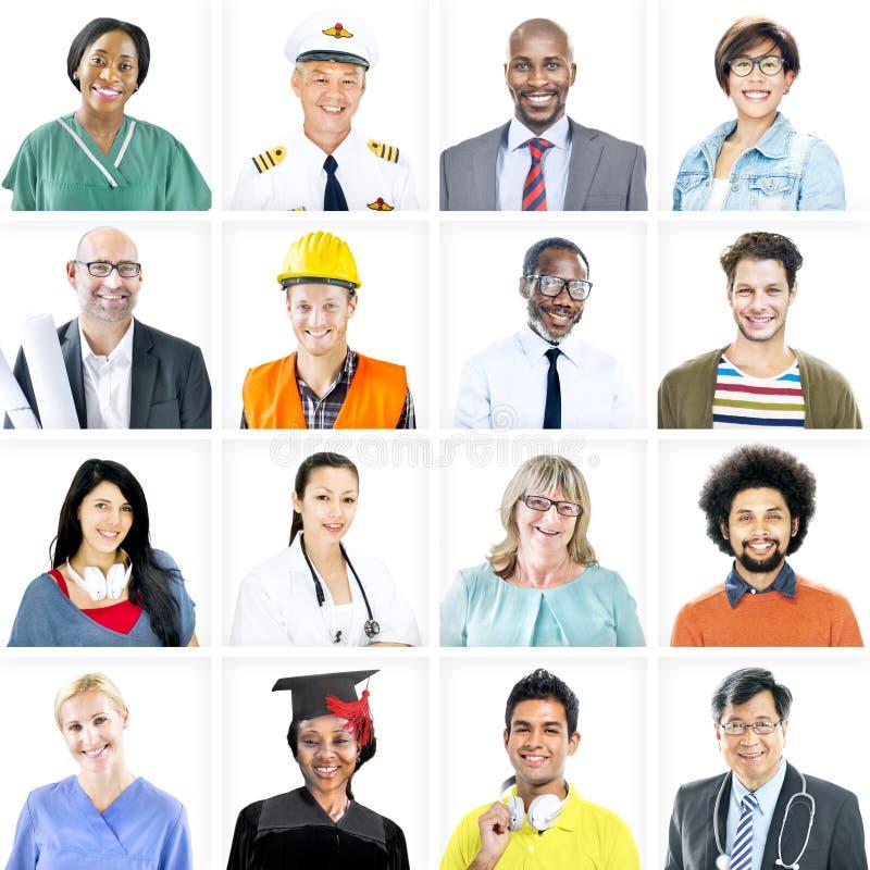 Portret van Multi-etnische Gemengde Beroepsmensen stock foto's