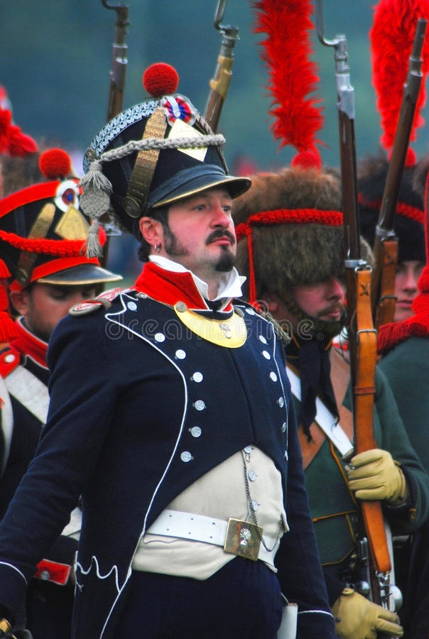 Portret van Napoleonic oorlogsmilitair in blauwe eenvormig royalty-vrije stock foto's