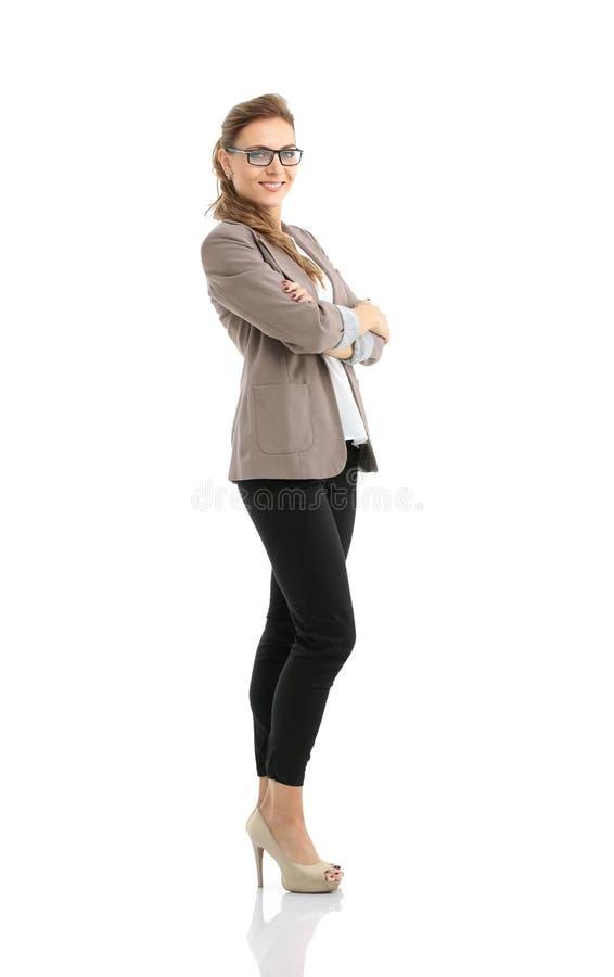 Portret van onderneemster dat op witte achtergrond wordt geïsoleerdm stock foto