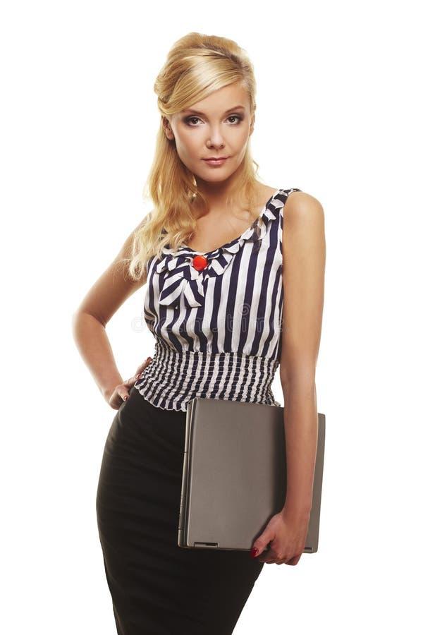 Portret van onderneemster met laptop computer stock foto's