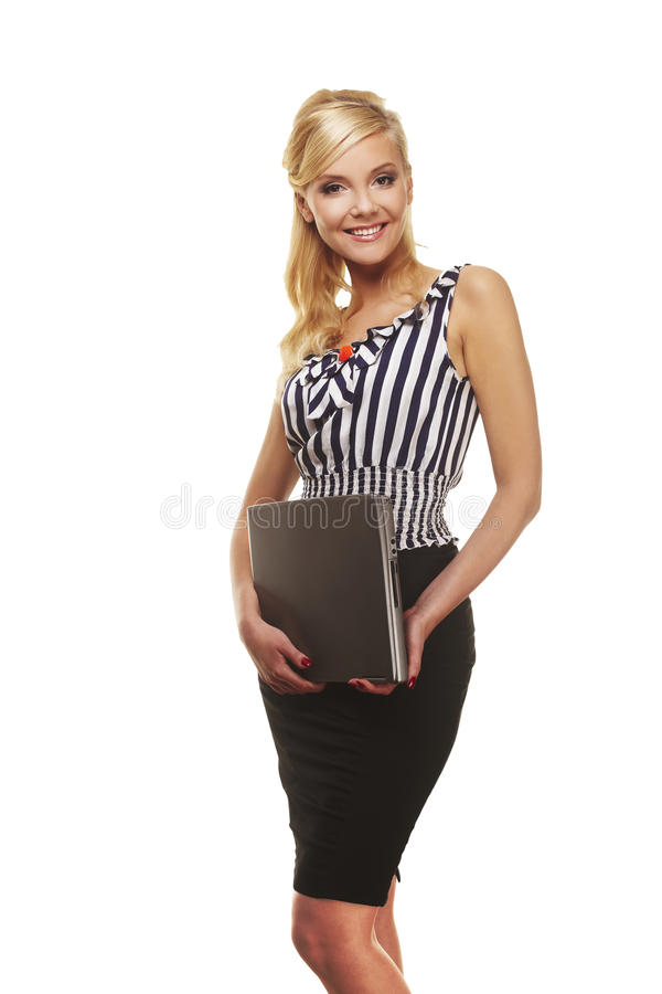 Portret van onderneemster met laptop computer royalty-vrije stock afbeeldingen