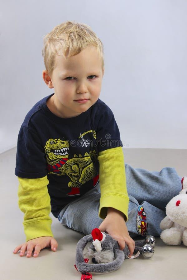 Portret van ongelukkig weinig babyjongen royalty-vrije stock foto