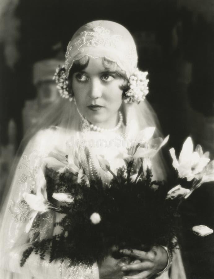 Portret van ouderwetse bruid royalty-vrije stock afbeelding