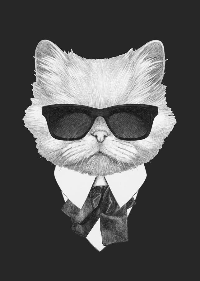 Portret van Perzische kat in kostuum royalty-vrije illustratie