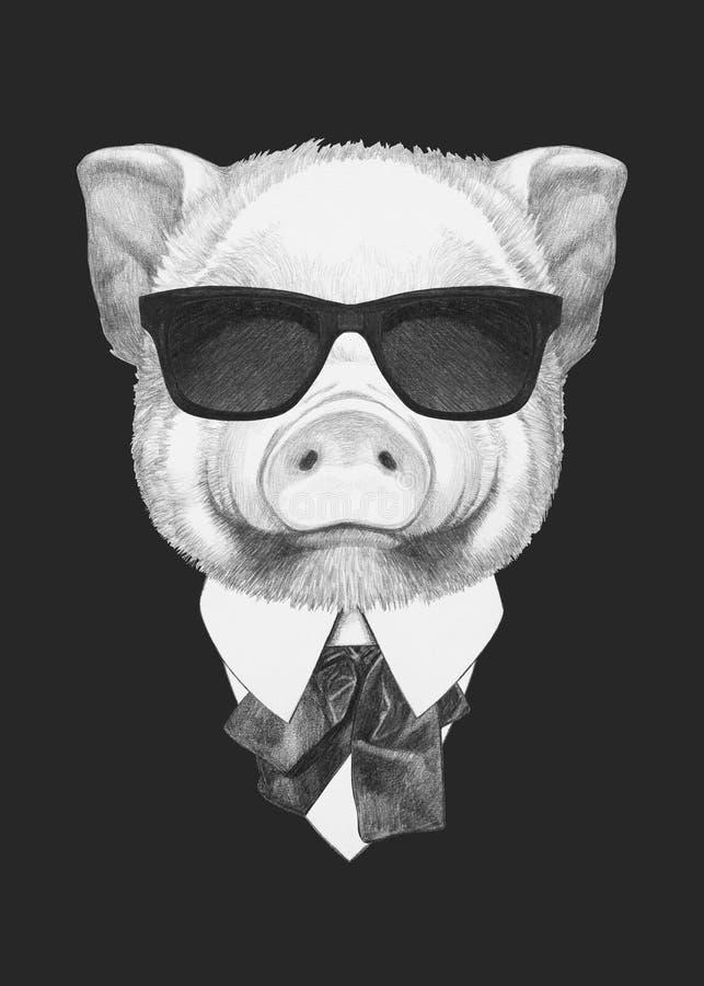Portret van Piggy in kostuum royalty-vrije stock foto's