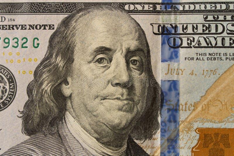 Portret van President Benjamin Franklin op 100 dollarrekening clo royalty-vrije stock foto's