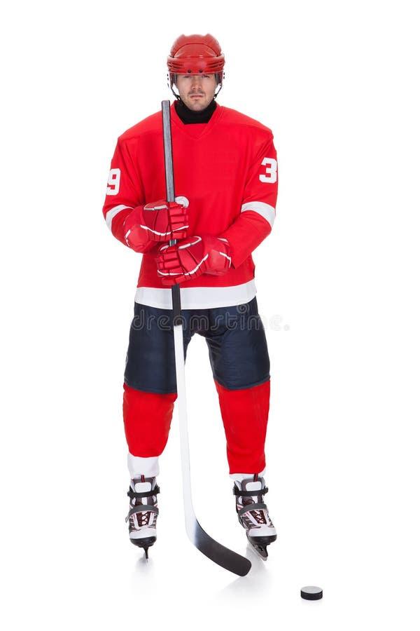 Portret van professionele hockeyspeler stock afbeeldingen