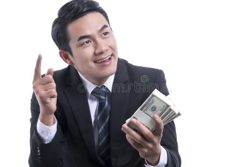 Portret van Rich Successful Businessman op witte achtergrond royalty-vrije stock foto