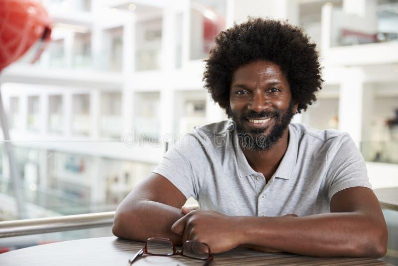 Portret van Rijpe Mannelijke Universitaire Student On Campus stock foto's
