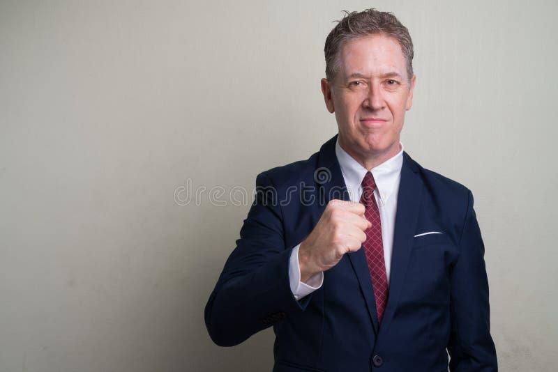 Portret van rijpe zakenman tegen witte achtergrond royalty-vrije stock fotografie