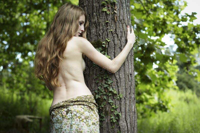 Portret van romantische vrouw bij het groene bos stock foto