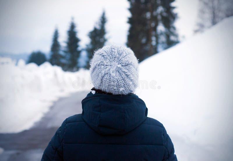 Portret van rug van het verbazen van meisje in koude de winterdag Openluchtfoto van een jonge vrouw die in wollen grijze hoed in  royalty-vrije stock afbeeldingen