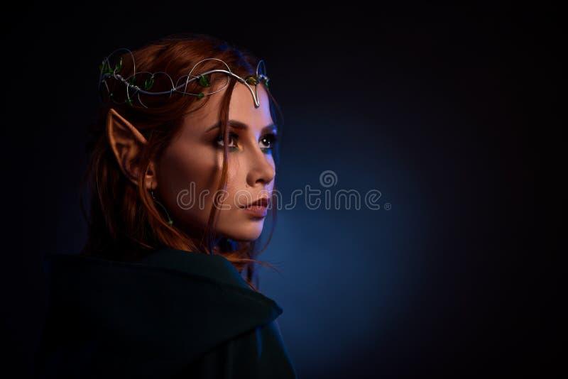 Portret van schitterend elf in tiara die thoutfuly omhoog eruit zien stock fotografie
