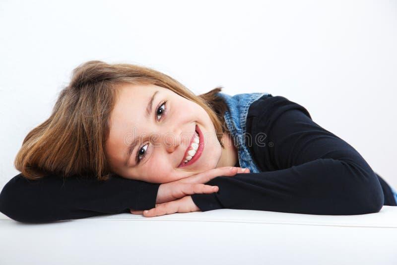 Portret van schoolmeisje het glimlachen stock afbeeldingen