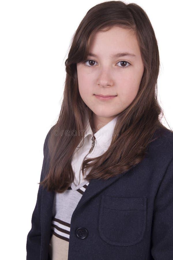 Portret van schoolmeisje met eenvormig royalty-vrije stock foto's