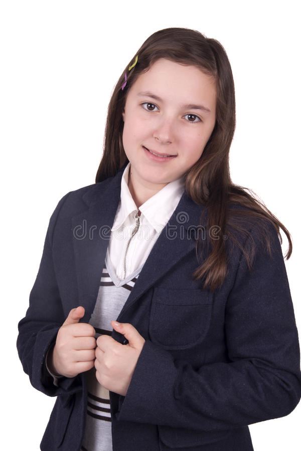 Portret van schoolmeisje met eenvormig stock afbeelding
